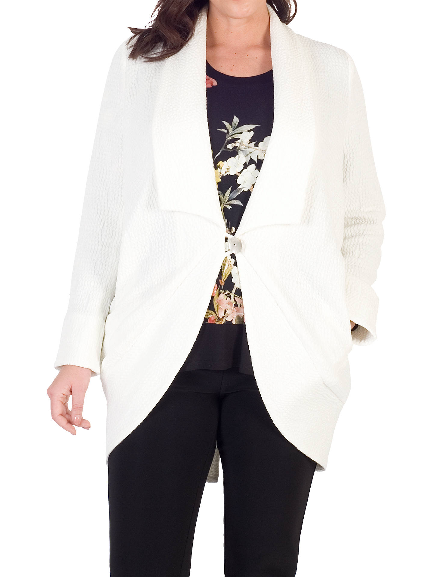 BuyChesca Shawl Collar Jacquard Coat, White, 12-14 Online at johnlewis.com