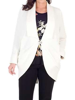 Chesca Shawl Collar Jacquard Coat, White