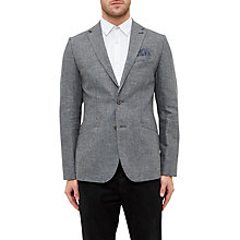 Buy Ted Baker Hitchin Cotton-Linen Blend Blazer, Grey Online at johnlewis.com