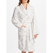 Buy John Lewis Amelia Feather Print Dressing Gown, Ivory/Grey Online at johnlewis.com