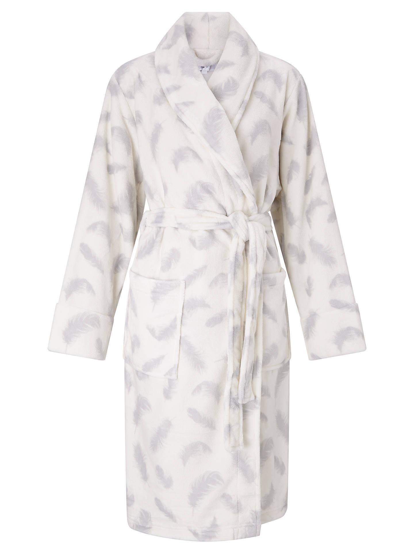 John Lewis Amelia Feather Print Dressing Gown, Ivory/Grey at John ...