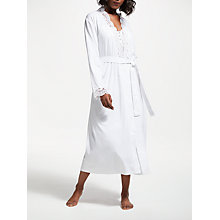 Buy John Lewis Lace Trim Jersey Dressing Gown, White Online at johnlewis.com