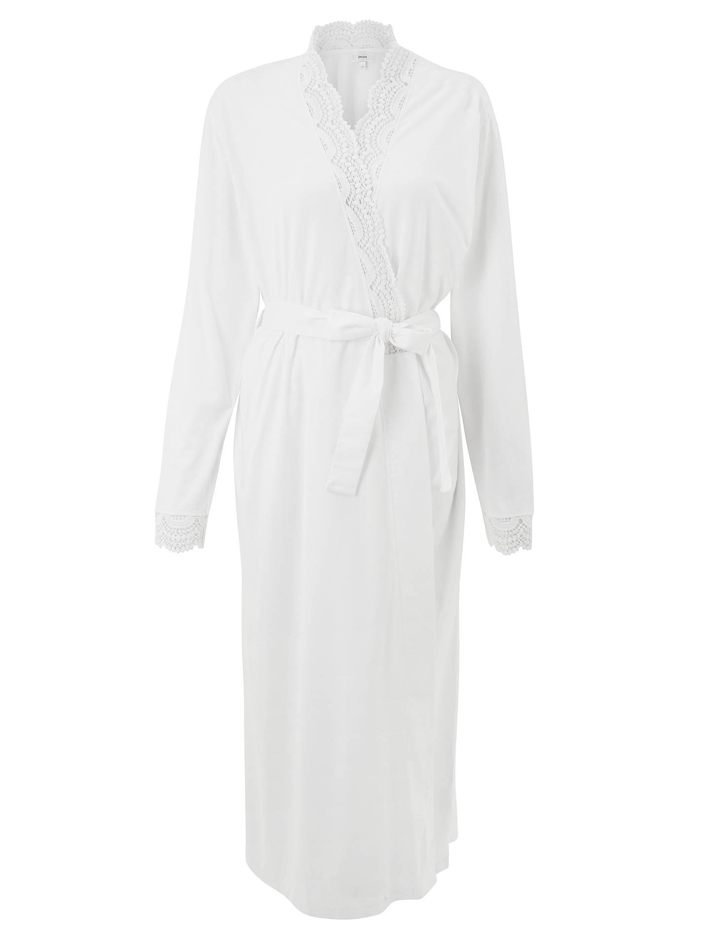 John Lewis Partners Lace Trim Jersey Dressing Gown White At John