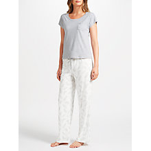 Buy John Lewis Amelia Feather Print Short Sleeve Jersey Pyjama Set, Grey/White Online at johnlewis.com