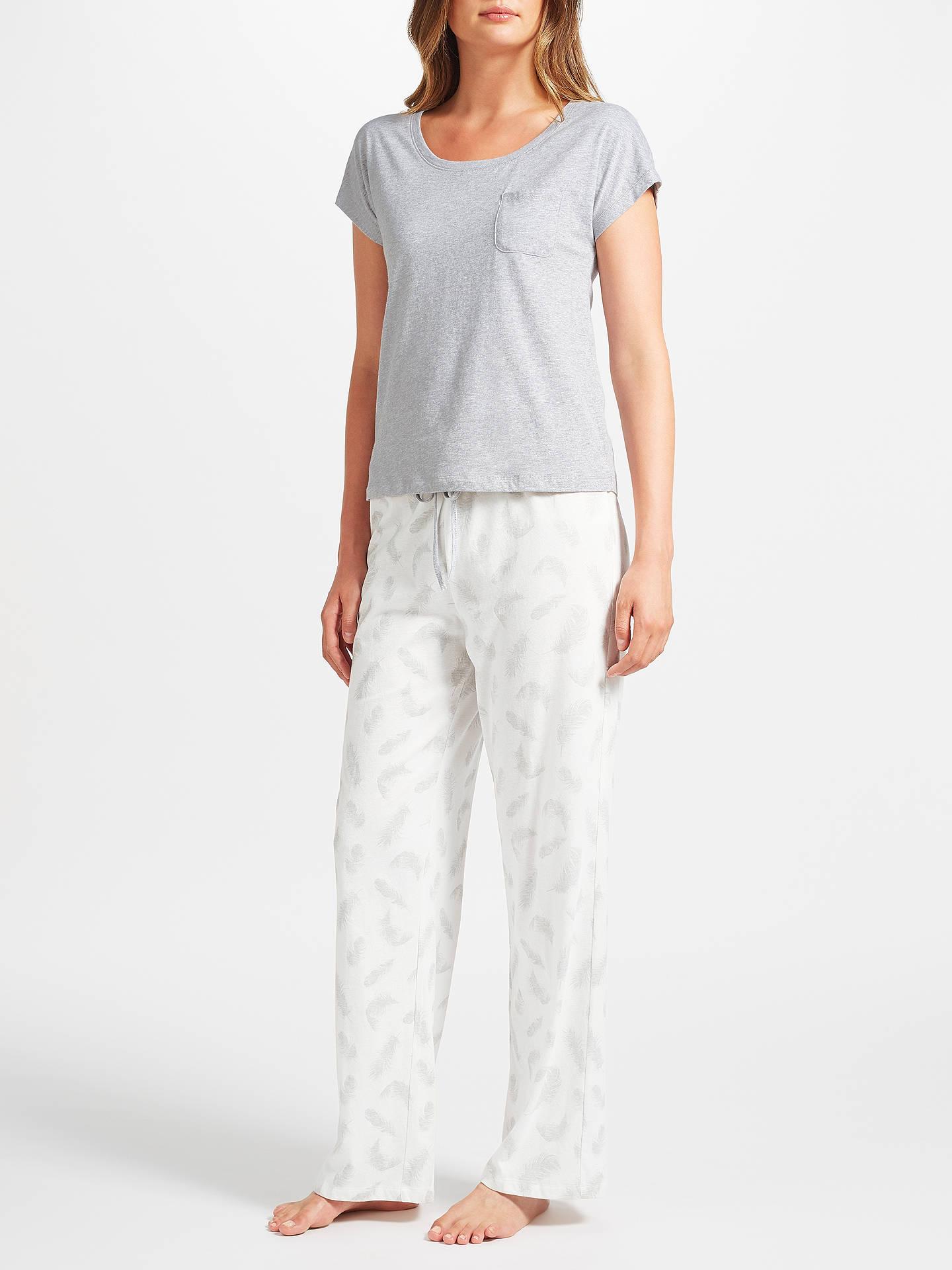 5f9c21c9ad BuyJohn Lewis Amelia Feather Print Short Sleeve Jersey Pyjama Set
