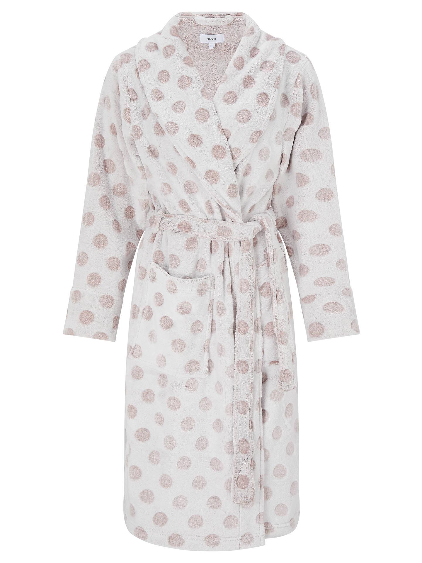 John Lewis Spot Embossed Fleece Dressing Gown, Taupe at John Lewis ...