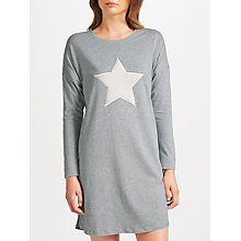 Buy John Lewis Fluffy Star Nightdress, Grey/White Online at johnlewis.com