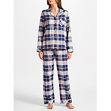 Buy John Lewis Hannah Check Pyjama Set, Navy/Pink Online at johnlewis.com