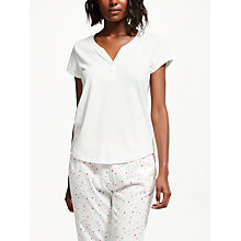 Buy John Lewis Cotton Jersey Short Sleeve Placket Detail Pyjama Top, Ivory Online at johnlewis.com