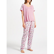 Buy John Lewis Christine Floral Print Jersey Short Sleeve Pyjama Set, Pale Pink Online at johnlewis.com