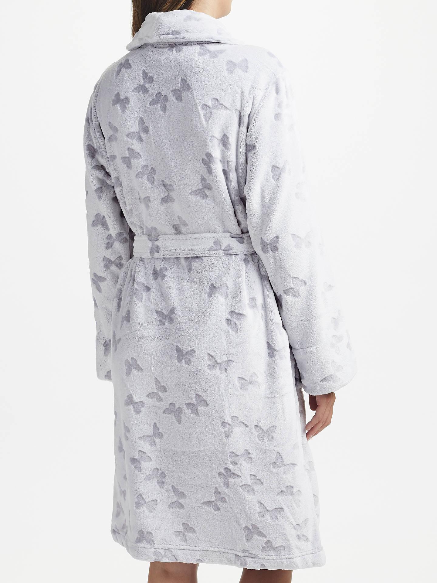 John Lewis Butterfly Embossed Fleece Dressing Gown, Grey at John ...