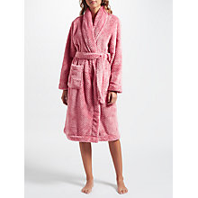 Buy John Lewis Waffle Fleece Shawl Collar Robe, Pink Online at johnlewis.com