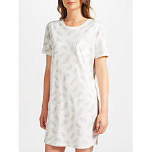 Buy John Lewis Amelia Feather Print Short Sleeve T-Shirt Nightdress, Grey/Ivory Online at johnlewis.com