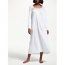 Buy John Lewis Long Sleeve Lace Trim Jersey Nightdress, White Online at johnlewis.com