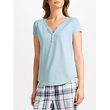 Buy John Lewis Jersey Short Sleeve Placket Detail Pyjama Top, Aqua Online at johnlewis.com