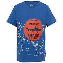 Buy Fat Face Boys' Short Sleeve Shark Warning T-Shirt, Blue Online at johnlewis.com
