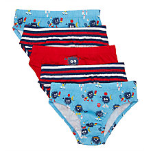 Buy John Lewis Boys' Monster Briefs, Pack of 5, Blue/Red Online at johnlewis.com