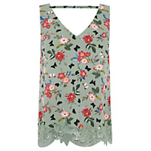 Buy Oasis Floral Print V-Front and Back Lace Vest, Green Online at johnlewis.com
