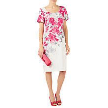 Buy Jacques Vert Rose Print Shift Dress, Bright Pink/Multi Online at johnlewis.com