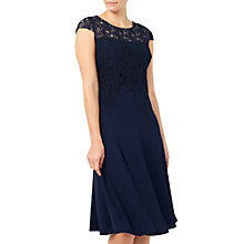 Buy Jacques Vert Leaf Lace Top Crepe Soft Dress, Navy Online at johnlewis.com