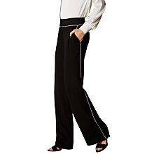 Buy Karen Millen Contrast Piping Tailored Trousers, Black Online at johnlewis.com
