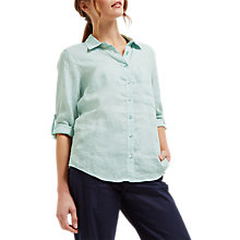 Buy Jaeger Linen Roll Sleeve Shirt, Blue Online at johnlewis.com