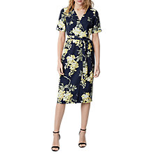 Buy Warehouse Wisteria Floral Wrap Dress, Blue Pattern Online at johnlewis.com