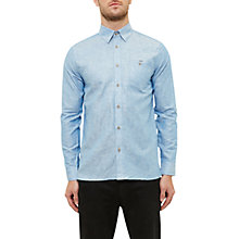 Buy Ted Baker Laavato Linen Blend Shirt, Bright Blue Online at johnlewis.com