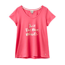 Buy Joules Anna Five More Minutes Slogan Pyjama Top, Pink Online at johnlewis.com