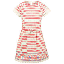Buy Fat Face Girls' Maisy Stripe Dress, Coral Online at johnlewis.com
