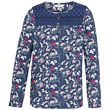 Buy Fat Face Girls' Floral Print Blouse, Blue Online at johnlewis.com