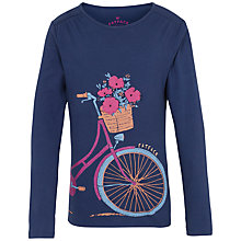 Buy Fat Face Girls' Long Sleeve Pretty Bike T-Shirt, Navy Online at johnlewis.com