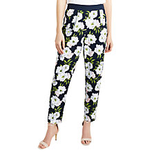 Buy Oasis Georgia Soft Trousers, Black/White Online at johnlewis.com