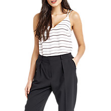 Buy Oasis Stripe V Front Vest, White/Black Online at johnlewis.com