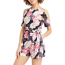 Buy Oasis Spring Bloom Playsuit, Black/Multi Online at johnlewis.com