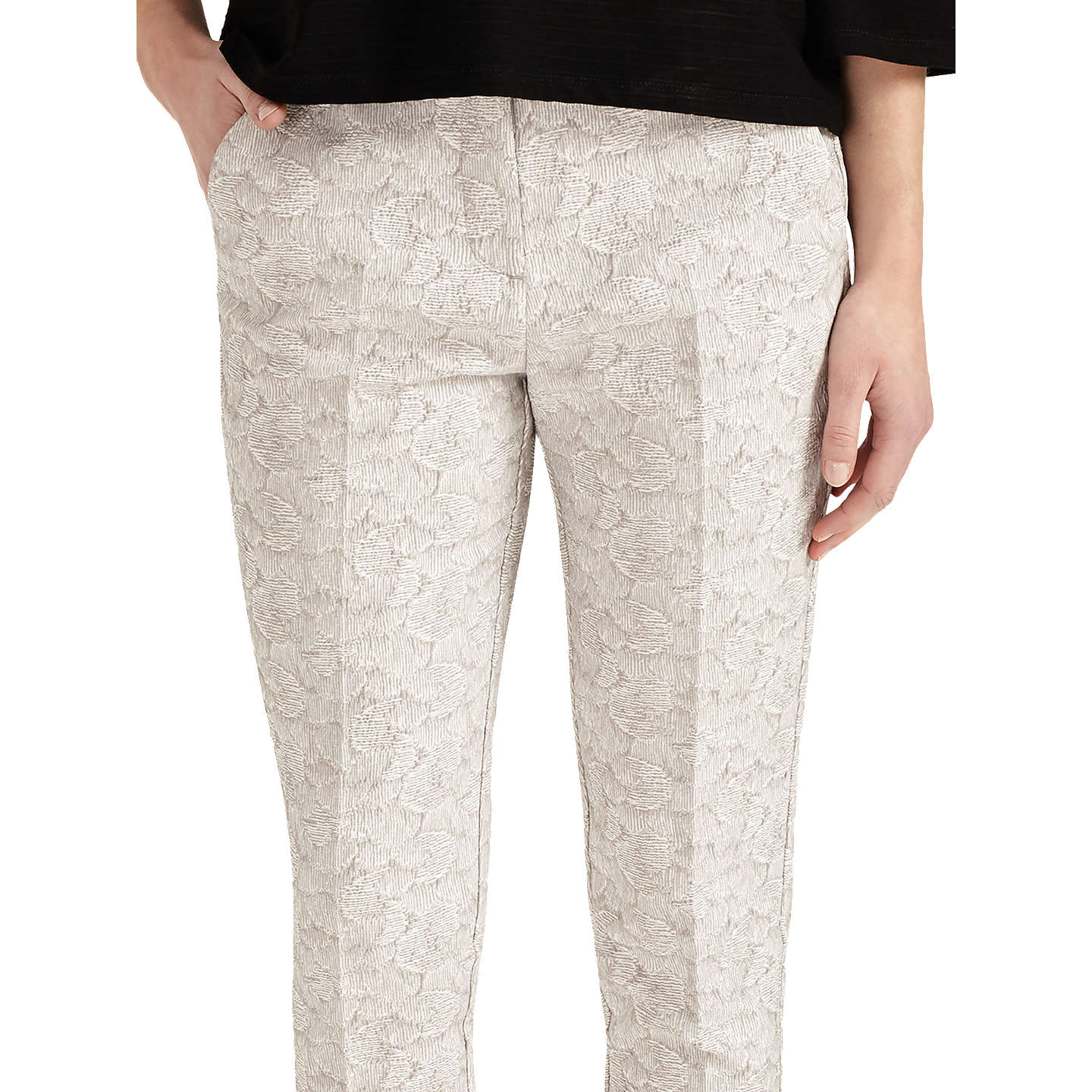 BuyPhase Eight Erica Jacquard Trousers, Ivory/Camel, 8 Online at johnlewis.com