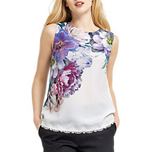 Buy Oasis Georgia Lace Trim Shell Top, Off White Online at johnlewis.com