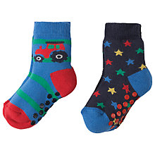 Buy Frugi Organic Baby Tractor Grippy Socks, Pack of 2, Multi Online at johnlewis.com