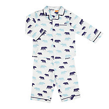 Buy John Lewis Baby Bear Print Woven Pyjamas, Blue Online at johnlewis.com