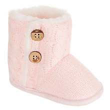 Buy John Lewis Baby Knitted Booties, Pink Online at johnlewis.com