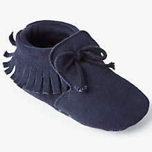 Buy John Lewis Baby Suede Mocassin Booties, Navy Online at johnlewis.com