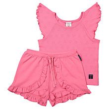 Buy Polarn O. Pyret Girls' Heart Top and Shorts Pyjama Set, Pink Online at johnlewis.com