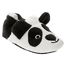 Buy John Lewis Baby Panda Slippers, Black/White Online at johnlewis.com