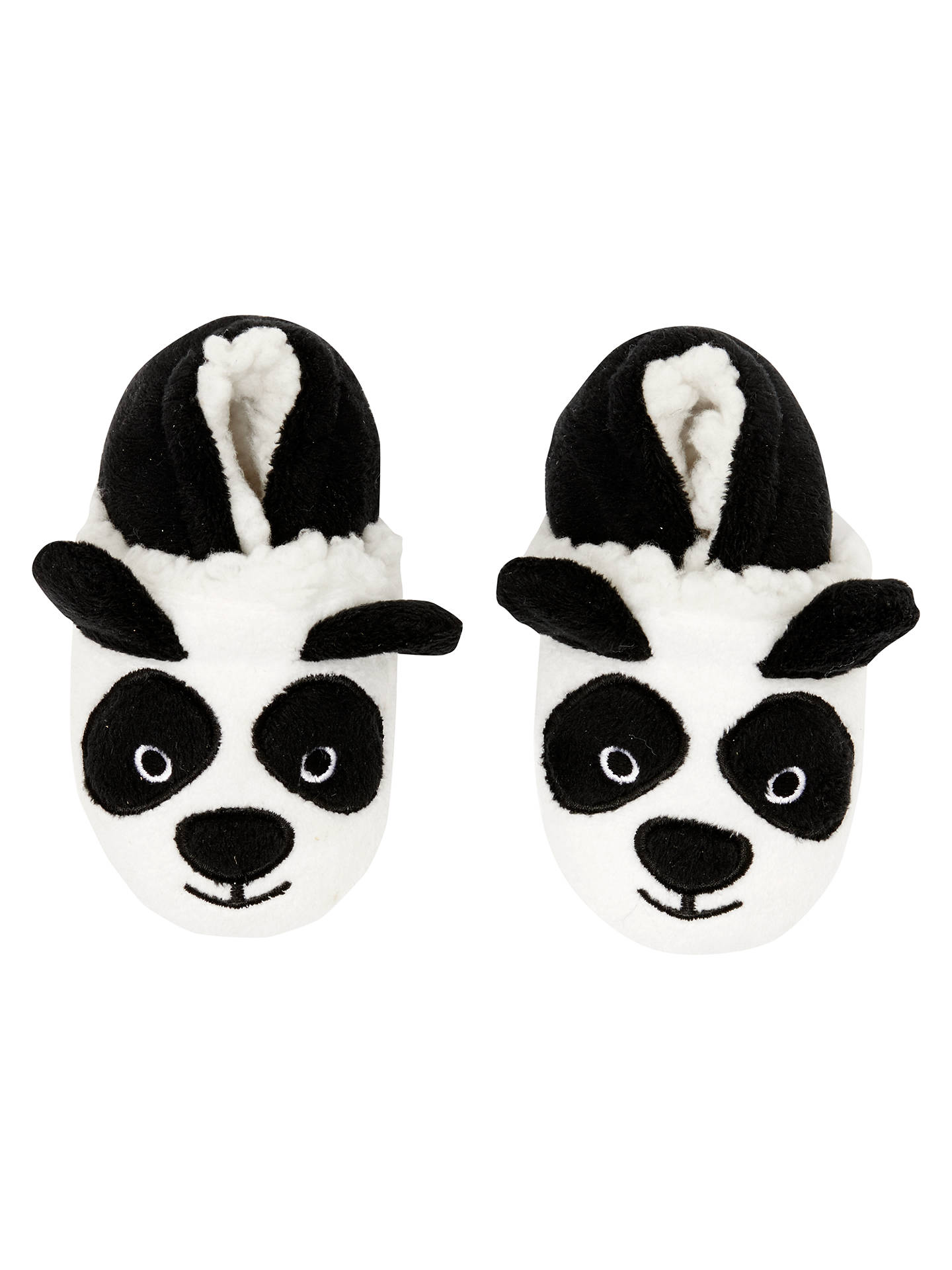 BuyJohn Lewis Baby Panda Slippers, Black/White, 0-3 mths Online at johnlewis.com