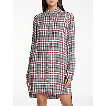 Buy DKNY Checked In Flannel Nightshirt, Cherise/Grey Online at johnlewis.com