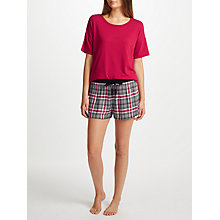 Buy DKNY Checked In Short Sleeve And Shorts Pyjama Set, Cerise/Multi Online at johnlewis.com