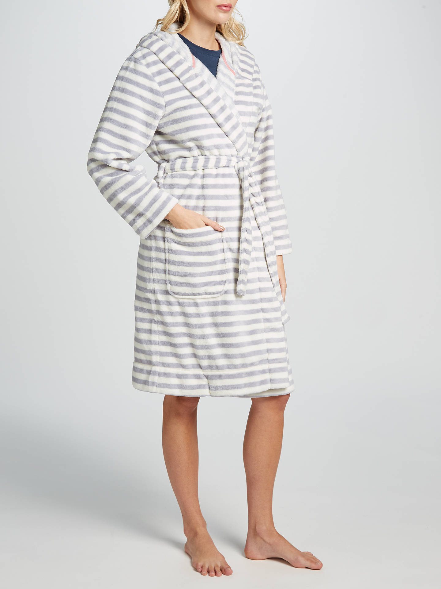 921a1de1e8 Joules Rita Stripe Fleece Dressing Gown at John Lewis   Partners