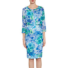 Buy Gina Bacconi Printed Chiffon Dress And Jacket With Satin Trims, Blue/Green Online at johnlewis.com