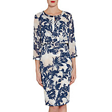 Buy Gina Bacconi Printed Chiffon Dress And Jacket With Satin Trims, Navy/Nude Online at johnlewis.com