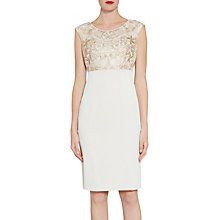 Buy Gina Bacconi Crepe And Floral Embroidered Mesh Dress, Butter Cream Online at johnlewis.com